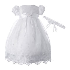Keepsake® Christening Dress and Headband Set – Girls newborn-12m