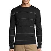 St. John's Bay® Long-Sleeve Striped Fine-Gauge Crewneck Sweater