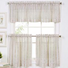 Linen Stripe Rod-Pocket Kitchen Curtains