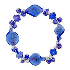 Dazzling Designs™ Blue Artisan Glass Stretch Bracelet