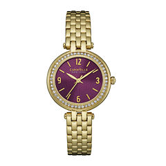 Caravelle New York® Womens Crystal-Accent Gold-Tone Bracelet Watch 44L174