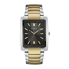 Bulova® Classic Mens Rectangular Two-Tone Stainless Steel Watch 98A149