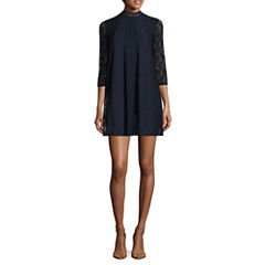 Love Reigns 3/4 Sleeve Lace A-Line Dress-Juniors