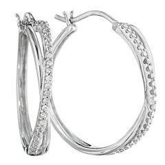 1/10 CT. T.W. Diamond Sterling Silver X-Hoop Earrings