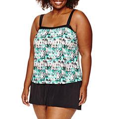 Azul by Maxine of Hollywood Pattern Swim Dress - Plus