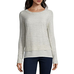 St. John's Bay® Long-Sleeve Pointelle Layered Sweater