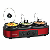 Cooks 3x1.5-qt. Triple Slow Cooker with Lid Rests