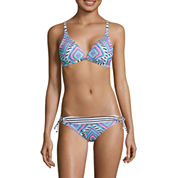 Arizona Mix & Match Diamond Fantasy Molded Bra Pushup Top & Side-Tie Hipster Swim Bottoms