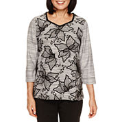 Alfred Dunner Wrap It Up 3/4 Sleeve Crew Neck T-Shirt