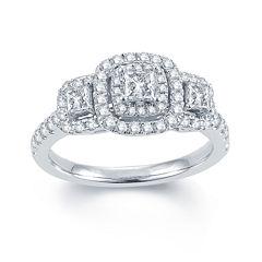 Modern Bride® Signature 1 CT. T.W. Diamond 14K White Gold 3-Stone Princess-Cut Ring