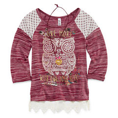 Beautees 3/4-Sleeve Lace-Detail Graphic Top - Girls 7-16