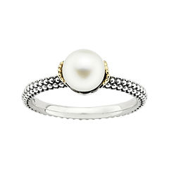 Personally Stackable Cultured Freshwater Pearl Two-Tone Stackable Ring