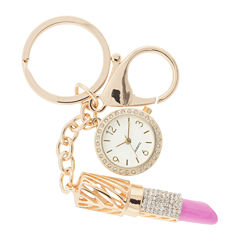 Womens Crystal-Accent Key Ring Clip Pendant Watch