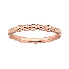 Personally Stackable 18K Rose Gold Over Sterling Silver 1.5mm Cable Ring