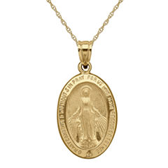 Infinite Gold™ 14K Yellow Gold Miraculous Medal Necklace