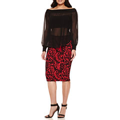 Bisou Bisou® Slit Sleeve Mock Neck Off Shoulder Top or Pencil Skirt