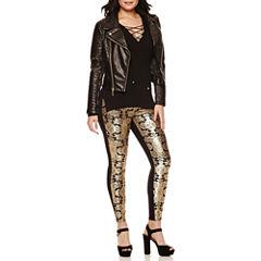 Bisou Bisou® Multi-Zip Moto Jacket, 3/4 Sleeve V Neck Lace Up Rib Sweater & Foil Print Leggings