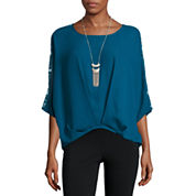 Alyx Short Sleeve Scoop Neck Crepe Blouse