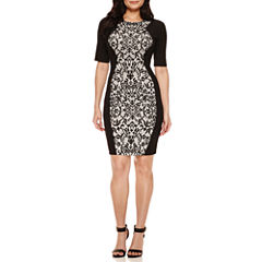 Bisou Bisou Elbow Sleeve Bodycon Dress