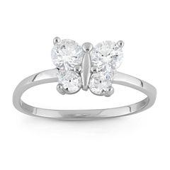 Girls White Cubic Zirconia Delicate Ring