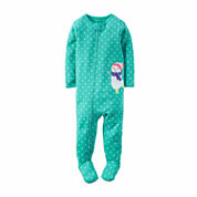 Carter's Girl Turq Snowman 1pc Sleeper 12-24M