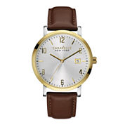Caravelle New York® Mens Brown Leather Strap Watch 44B108