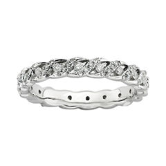 Personally Stackable 1/2 CT. T.W. Diamond Sterling Silver Swirl Ring