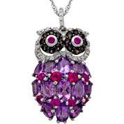 Sterling Silver Multi-Gemstone Owl Pendant Necklace