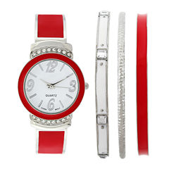 Womens Crystal-Accent Red Bangle Watch and Bracelet Set