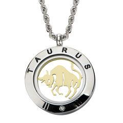 Taurus Zodiac Reversible Two-Tone Stainless Steel Locket Pendant Necklace