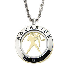 Aquarius Zodiac Reversible Two-Tone Stainless Steel Locket Pendant Necklace