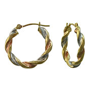 Tri-Tone Twist Hoop Earrings