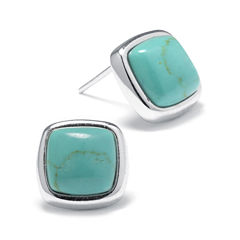 Simulated Turquoise Sterling Silver Square Stud Earrings