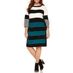 Studio 1 3/4 Sleeve Sweater Dress-Plus