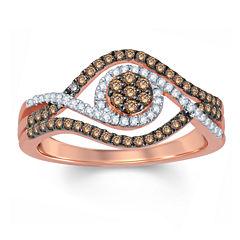 Womens 1/2 CT. T.W. Round Champagne Diamond 10K Gold Engagement Ring