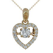 Petite Lux Womens White Cubic Zirconia 10K Gold Pendant Necklace