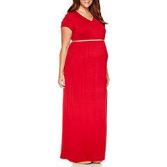 Short Sleeve Maxi Dress-Plus Maternity