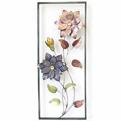 2 Flowers In Rectangle Wall Decor