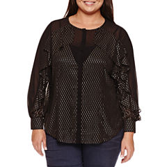 Bisou Bisou Long Sleeve Button Front Ruffle Blouse-Plus