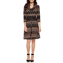 Studio 1 Belted 3/4 Sleeve Sweater Dress-Petites