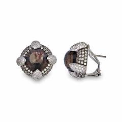 Brown Quartz Sterling Silver Stud Earrings