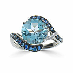 Womens Blue Topaz Sterling Silver Bypass Ring