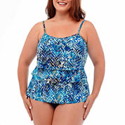 Jamaica Bay® Muted Reptile Triple-Tier Swim Top
