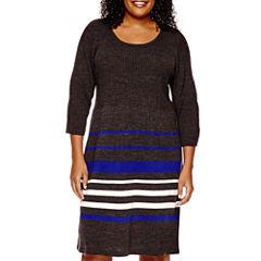 Studio 1® 3/4-Sleeve Striped Sweater Dress - Plus
