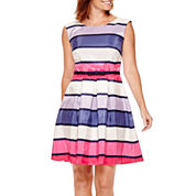 Danny & Nicole® Sleeveless Striped Shantung Fit-and-Flare Dress - Petite