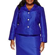 R & K Originals Long Sleeve Button Front Skirt Suit Set-Plus
