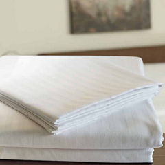 24-pc 220tc Sateen Stripe Fitted Sheet