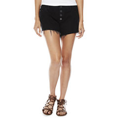 a.n.a. Button Front Denim Shorts (4