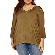 Boutique + 3/4 Sleeve V Neck T-Shirt-Plus