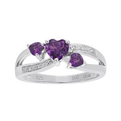Genuine Amethyst and Diamond-Accent Sterling Silver Triple-Heart Ring